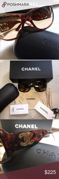 Authentic CHANEL Sunglasses Beautiful, Authentic Tortoise Chanel Sunglasses, with gold CC on the sides. Photos show Chanel etched on both lenses as well as the authenticity code on the left side of the left lense. No scratches or flaws on lenses. The only flaw is a very small scratch on the bridge, shown in the last photo. Used, but in excellent condition! CHANEL Accessories Sunglasses