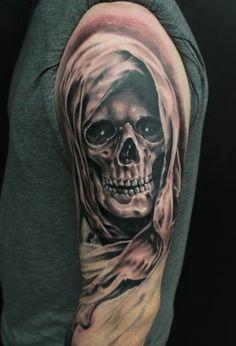 Evil Tattoos, Lion Head Tattoos, Creepy Tattoos, Irish Tattoos, Badass Tattoos, Body Art Tattoos, Hand Tattoos, Tattoos For Guys, Totenkopf Tattoo Mann