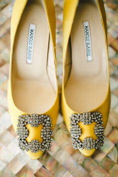 Wedding shoes inspiration: yellow Manolo Blahnik Hangisi embellished satin pumps // Magical Bali Wedding on a Floating Stage: Aldi and Juliana