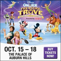 NEW!!! GIVEAWAY: WIN 4 Tickets to ‪#‎DisneyOnIce‬ ‪#‎TreasureTrove‬ at the Palace of Auburn Hills http://ow.ly/T9mpF ENDS SATURDAY 10/10/15