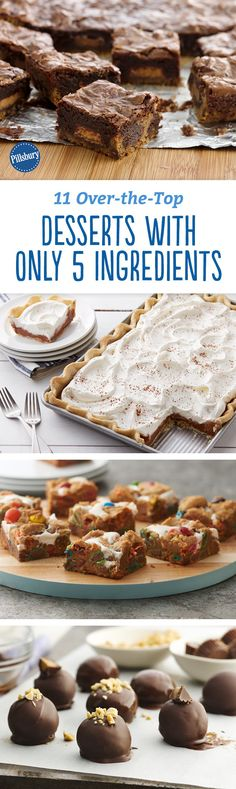 From strawberry-swirled cheesecake to candy-stuffed brownies, these desserts are positively loaded with all your favorite things. (And—bonus!—they call for just five ingredients or fewer. Pillsbury Recipes, Baking Recipes, Cookie Recipes, Brownie Recipes, Köstliche Desserts, Delicious Desserts, 5 Ingredient Desserts, Desert Recipes, Dessert Bars