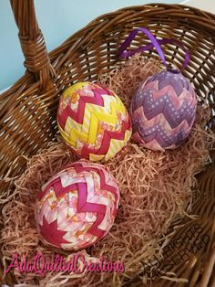 Quilted Easter egg ornaments to decorate your home this holiday season. Light pastel coloured cotton fabrics and beautiful floral cotton were used folded to craft these ornaments. Size: height-8 cm (3.15 inches) and perimeter - 17 cm (6.69 inches). These are a little larger than
