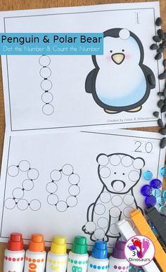 Polar Bear & Penguin Dot the Number Count the Number - this is a fun counting activity with dot markers that works on nu Winter Activities For Kids, Counting Activities, Winter Crafts For Kids, Preschool Winter, Number Activities, Penguins And Polar Bears, Do A Dot, Polar Animals, Shape Crafts
