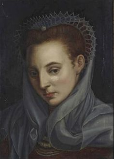 French School, 17th Century Portrait of a lady, bust-length, in an ochre dress with a lace headdr