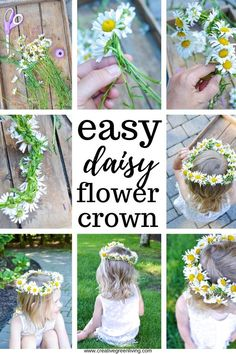 Step by step tutorial for how to make a flower crown from daisies. The DIY tutorial shows you how to make a daisy chain from wildflowers. This same technique works to make a flower headband or flower crown from any soft stemmed flower like daisies, dandelions or other wildflowers. #daisycrown #daisychain #flowercrown #naturecrafts Easy Craft Projects, Easy Crafts, Crafts For Kids, Daisy Crown, Flower Crown, Real Flowers, Summer Flowers, Dollar Store Crafts, Nature Crafts