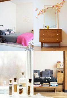 Top right: great Mid Century Modern dresser, great mirror plus great three dimensional wall art