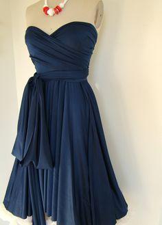 AH!!!!.........Mavericks Navy Blue Brushed Satin Convertible Wrap dress- Last of Fabric. $79.98, via Etsy.