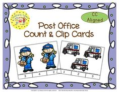 These cards are terrific for Math Centers – A Hands-On Activity your kiddos will love!  Post Office Clip Cards allow learners to practice counting. WAIT, THERE'S MORE!!! More cards that is. Now, you have 20 clip cards! Post Office Count & Clip Cards help your little tykes practice counting from 1 to 20!!!