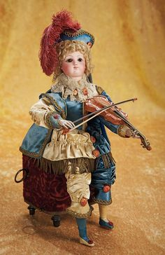 """The Empress and the Child - Antique Dolls:  All-Original Pristine Musical Automaton """"The Violinist"""" by Vichy"""