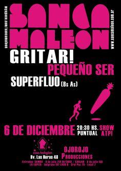 Flyer -   Sancamaleon + Gritar! + Pequeño Ser  Córdoba - 2009.