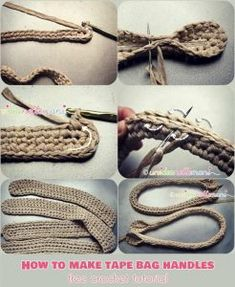 These handles are entirely crocheted and are suitable for any type of bag. You can adjust the length according to your preferences. No special carabiners orHow to Make Tape Bag Handles Crochet Tutorial Free Crochet Bag Tutorials, Crochet Instructions, Crochet Crafts, Crochet Projects, Knitting Tutorials, Slip Stitch Crochet, Crochet Cord, Free Crochet, Crochet Granny