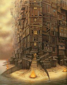 jacek_yerka_the+fantastic+art_new+age+manhattan.jpg (1252×1600)