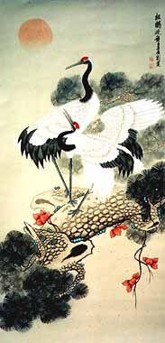 RP: Chinese Crane Painting - Imperial Crane on Pine - Leo Tzu