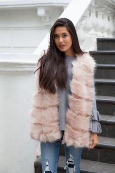 Styled in London Website, Styled in London Clothes, Fake Fur Winter Coat, Dusky Pink Blush Faux Fur Gilet, Boxy Soft Faux Fur Gilet Jacket Vest Coat, Fake Fur