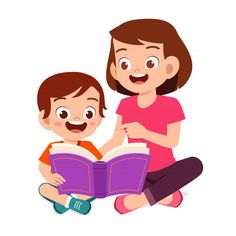happy cute little kid boy read book with mom - Buy this stock vector and explore similar vectors at Adobe Stock Kids Cartoon Characters, Cartoon Kids, Book Characters, Painting For Kids, Art For Kids, Reading Cartoon, Kids Reading Books, Flashcards For Kids, Boy Illustration