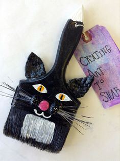"""""""the Altered Brush Project"""" - new brushes to share. Beth hardage -prefer the brushes that use the brush part as part of the art.still looks like a brush! Cat Crafts, Diy And Crafts, Crafts For Kids, Arts And Crafts, Paint Brush Art, Paint Brushes, Art Projects, Projects To Try, Paperclay"""