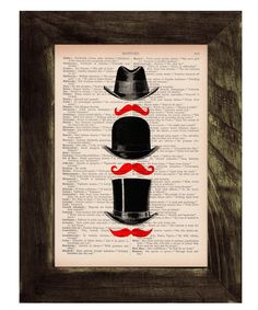 Upcycled book Hat & Moustache Art Print Upcycled Book Print. $6.99, via Etsy.