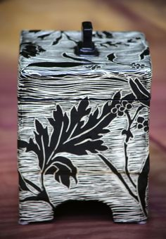 Handcarved Pottery Box, Black and White Ceramic Box with Bird and Floral Design…