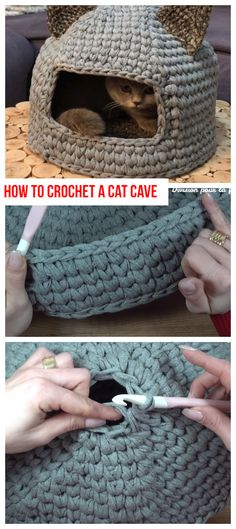 How To Crochet A Cat Cave How To Crochet A Cat Cave,Katzenkörbchen Related posts:Amigurumi Woodstock Crochet Free Patterns - Crochet & KnittingCrochet Baskets Ideas and PatternsCrochet Cross Stitch You Will Absolutely Love Chat Crochet, Crochet Amigurumi, Crochet Toys, Free Crochet, Yarn Projects, Knitting Projects, Crochet Projects, Knitting Patterns, Crochet Patterns