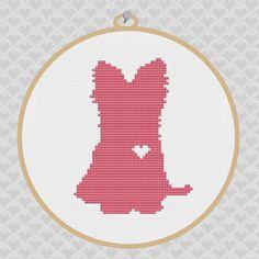 Yorkie Silhouette Cross Stitch Pattern