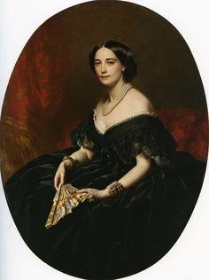 Franz Xaver Winterhalter 1805-1873 ALEMANIA. Portrait of a lady with a fan
