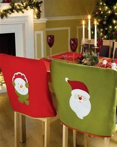 Set Of 4 Santa Snowman Festive Dining Seat Chair Covers Christmas Decoration