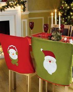 SET OF 4 SANTA SNOWMAN FESTIVE DINING SEAT CHAIR COVERS CHRISTMAS DECORATION   eBay