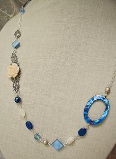 Handmade Blue Mother of Pearl Asymetrical Long by GnidGnadDesigns, $22.95