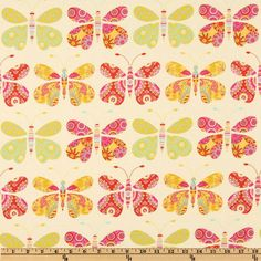 Kumari Garden Sacha Pink from @fabricdotcom  Designed by Dena Designs for Free Spirit, this cotton print fabric features an all over design of butterflies.  Colors include yellow, beige, lime, fuchsia, red and aqua.  Use fabric for quilts, home décor accents, craft projects and apparel.