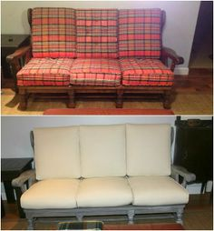 Do you remember when I had a couch that looked like this? And my challenge … - Upcycled Furniture Wood Frame Couch, Wooden Couch, Wood Sofa, Upcycled Furniture, Furniture Projects, Cool Furniture, 1970s Furniture, Refurbished Furniture, House Projects