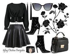 Total Black! by christina-geo on Polyvore featuring Boohoo, Balenciaga, Roberto Demeglio and Fendi