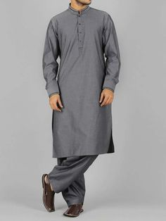 trendy gray best pakistani men kurta shalwar kameez designs 2017 with same shlawar