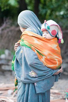 Baby wearing photo; mother and child