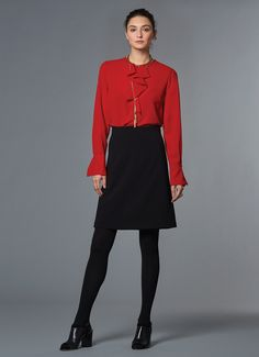 Ellen Tracy | Fall 2015 | Look 16 –  Ruffle Placket Blouse & A-Line Skirt