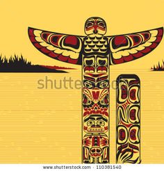 stock vector : Illustration of traditional tribal north American totem pole, made in Canadian native art style