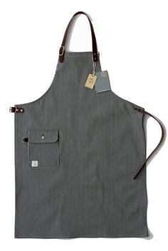 Image of Mercantile apron : DD07 Hickory stripe with leather