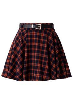 Orange Plaid Skirt