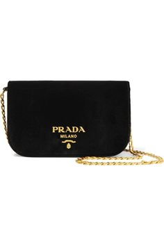PRADA Wallet On A Chain velvet shoulder bag Black velvet Snap-fastening  front flap Comes with dust bag Weighs approximately Made in Italy 75539356498b1