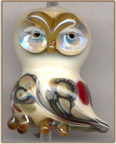 3 Dimensional Woodland Owl ~Woody~ Focal Glass Lampwork Bead Pendant SRA W79 :) ♥♥♥