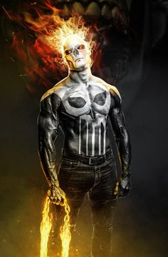 Ghost Rider/ Punisher - Kode-LGX-Punisher-Marvel Punishment - punisher x ghost rider concept . Superhero Wallpaper, Marvel Comics Wallpaper, Marvel Art, Ghost Rider Marvel, Ghost Rider, Ghost Rider Wallpaper, Punisher, Superhero Art, Dark Fantasy Art