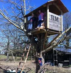 An old potato box from the farm is now a tree house