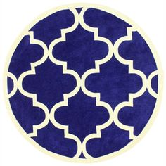 royal blue + fretwork rug for living room. (6' Round) | Overstock.com Shopping - Great Deals on Nuloom Round/Oval/Square