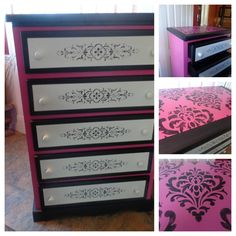 Micah Classic Panel & Furniture Stencil on Dresser by Bonnie Soles | Royal Design Studio