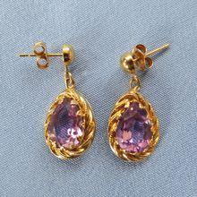 Charming Dangling 14k Amethyst Teardrop Earrings