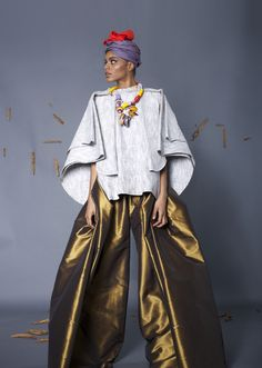 """Look 6. Bonded Linen blouse with silk taffeta wide leg pants. """"M'ba M'etta"""" Collection by #NyorhAgwe #africandesigner #africa #fashion"""