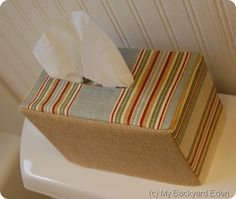 Fabric & Burlap Tissue Box Cover.  Can easily become crochet cover tissue box - for G's nursery teachers.