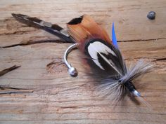 The BEAR RIDGE Collection.ButtonHole Fishing Boutonniere Wedding Tie Fly Mountain Lodge Cobalt Blue Pheasant Feather Hook Fall Royal Summer