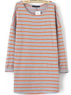 Red Long Sleeve Striped Loose T-Shirt US$22.95