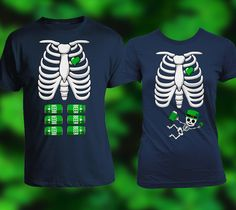 76bef481d Skeleton Leprechaun baby and Six Pack Matching new mom and dad St Patrick's  day shirts,