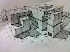 This sketch uses parallel lines to render form and depict areas of shadow… Shadow Architecture, Architecture Concept Drawings, Architecture Sketchbook, Architecture Design, Interior Design Sketches, Sketch Design, Conceptual Drawing, Building Sketch, Perspective Drawing